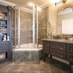Corner Tub Shower : Corner Tub With Shower Combo. Corner tub with shower combo. Modern Bathroom, Small Bathroom, Master Bathroom, French Bathroom, Brown Bathroom, Modern Shower, Industrial Bathroom, Corner Tub Shower Combo, Country Style Bathrooms