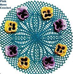 Toalhinha Centrinho Amor Perfeito - Crochet Pansy Doily