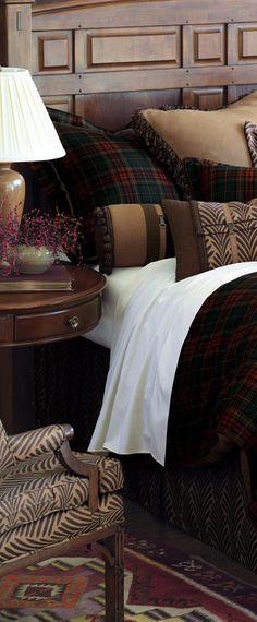 tissu écossais, parure de lit tartan écossais, décorer en style traditionnel