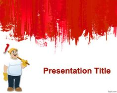 Painting Wall PowerPoint Template is a free painting PowerPoint template with a red wall in the slide design