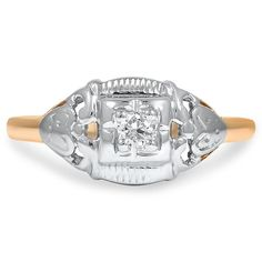 14K Yellow Gold, Selective Rhodium Plating The Cristine Ring from Brilliant Earth