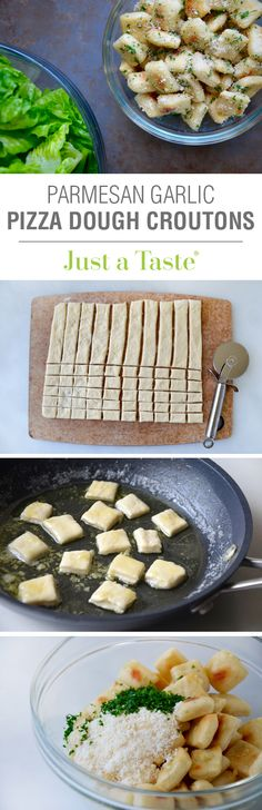 Baked Parmesan Garlic Pizza Dough Croutons #recipe on justataste.com