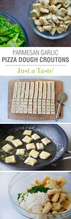 Baked Parmesan Garlic Pizza Dough Croutons #recipe on justataste.com