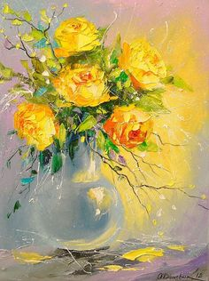 Buy A bouquet of yellow roses in a vase, Oil painting by Olha Darchuk on Artfinder. Discover thousands of other original paintings, prints, sculptures and photography from independent artists. Painting & Drawing, Watercolor Paintings, Madhubani Painting, Rose Art, Paintings For Sale, Original Paintings, Acrylic Art, Watercolor Flowers, Art Pictures