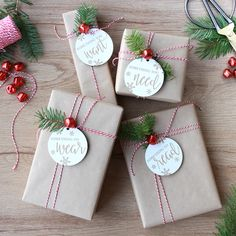 christmas wrapping Want, Need, Wear, Read Holiday Gift Tag Set Simple Christmas, All Things Christmas, Christmas Time, Christmas Crafts, Christmas Decorations, Christmas Gift Ideas, Country Christmas, Homemade Christmas, Holiday Decorating