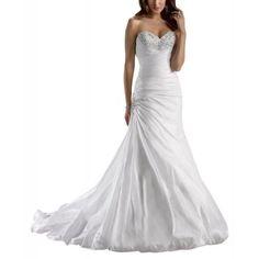 wedding dresses#GEORGE BRIDE Sweetheart Neckline Taffeta Wedding Dress With Beaded Bodice