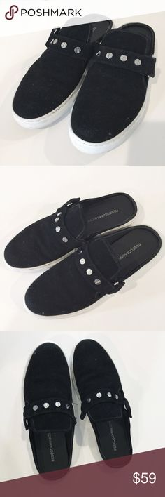 Rebecca Minkoff Slip Ons Slide Shoes Sonia 8.5 Rebecca Minkoff Size 8.5 slip on embellished Sonia tennis shoes in black with white trim and silver metal accents, and strap. Suede-like material. Excellent condition. Women's slip ons. Backless sneakers. Rebecca Minkoff Shoes Sneakers