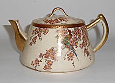 Vintage Satsuma China Floral & Birds W/Gold Teapot!