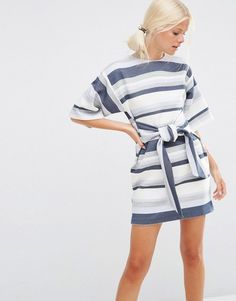ASOS Tie Front Shift Dress in Natural Fibre Stripe