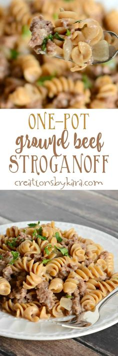 One Pot Ground Beef Stroganoff is a cinch to whip up. And it is hearty and delicious! A perfect weeknight dinner recipe the whole family will love.