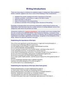 Writing Introductions  There are many ways to introduce an academic essay or assignment. Most academicwriters, however, appear to do one or more of the following in their introductions:       establish the context, background and/or importance of the topic       indicate a problem, controversy or a gap in the field of study       define the topic or key terms       state of the purpose of the essay/writing       provide an overview of the coverage and/or structure of the writingExamples…