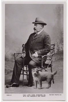 """historysquee: """"Edward VII and his dog Caesar By Thomas Heinrick Voigt, published by Rotary Photographic Co Ltd Bromide postcard print, published circa 1910 """" Kate Middleton Outfits, King Edward Vii, Postcard Printing, Vintage Dog, Lovers Art, History, Portrait, Pets, Rotary"""