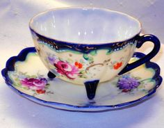 ANTIQUE ROYAL NIPPON JAPAN 3 FOOTED ROSES ASTERS TEA CUP AND SAUCER #NIPPONANTIQUE
