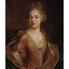 French School  17th/18th Century  Portrait of a Lady in a Red Dress  Oil on canvas  29 1/2 x 25 inches (75 x 63.5 cm)