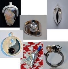 verschillende werkstukken gemaakt tijdens de cursus edelsmeden bij edelsmid Marja Schilt www.marjaschilt.nl