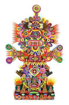 Artwork by Michael Velliquette Book Sculpture, Art Sculptures, Happy Eyes, Yarn Bombing, Party In A Box, Mixed Media Artists, Color Of Life, Paper Art, Cut Paper