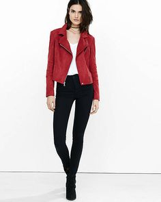 Faux Suede Moto Jacket from EXPRESS