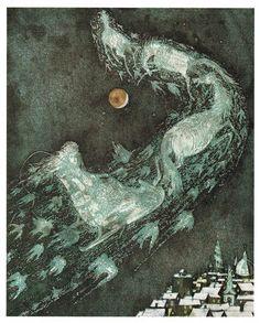Lars Bo illustration from 'The Snow Queen (Die Schneekönigin)' by Hans Christian Andersen Snow Queen, Ice Queen, Twelfth Night, Fairytale Art, Children's Book Illustration, Artist Art, Faeries, Fantasy Art, Fantasy Makeup