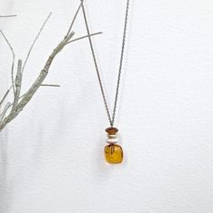 Boho Long Necklace-Amber Colored Vintage by mytimevintage on Etsy