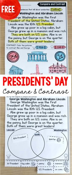 FREE presidents' day reading passages. Differentiated for kindergarten, first and second grade. Students color-code or cut and paste to compare and contrast George Washington and Abraham Lincoln. Perfect for a Presidents' Day activity.