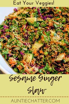Fresh ginger, garlic, honey, seeds, crunchy vegetables, and cilantro make this slaw addictively delicious! Side Dishes For Chicken, Mexican Side Dishes, Pasta Side Dishes, Pasta Sides, Potato Side Dishes, Healthy Side Dishes, Healthy Eating Recipes, Side Dishes Easy, Vegetable Side Dishes