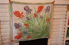 Emilio Pucci Iris Scarf Shawl. 1960s. Rare. Huge. Cotton.
