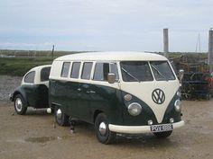 VW Split Screen Campervan with VW Beetle Trailer