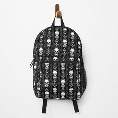 """Black & White Skull Stripes"" Backpack by HavenDesign 