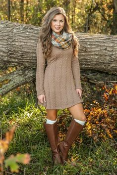 Even your breath knows that an Autumn Chill is in the air, so let this cute Mocha Brown Sweater Dress comfort you! This comfy cable knit sweater dress features a crew neckline, long sleeves, and an exposed zipper on the back. Cute Fall Outfits, Fall Fashion Outfits, Fall Winter Outfits, Cool Outfits, Casual Outfits, Autumn Fashion, Fashion Hacks, Fashion Tips, Cable Knit Sweater Dress