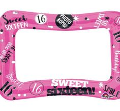 16 jaar selfie frame roze Sweet Sixteen Pictures, Sweet 16 Photos, Black Photo Frames, Collage Picture Frames, Party Inflatables, Birthday Photo Frame, Printable Frames, Event Pictures, Personalised Frames