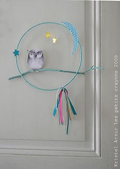 """Mobile """"Owl"""" Multico To hang on the wall, on a door of room . or to hang on the c Love My Kids, Diy For Kids, Crafts For Kids, Arts And Crafts, Easy Diy Crafts, Baby Crafts, Crafts To Make, Dreams Catcher, Mobiles"""