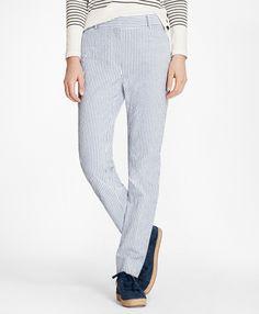 427193d1200 Petite Striped Stretch Cotton Seersucker Pants Blue-White Seersucker Pants