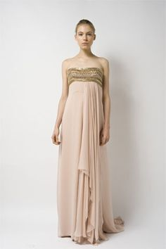 Peach silk-crepe dress with gold-tone embroidery