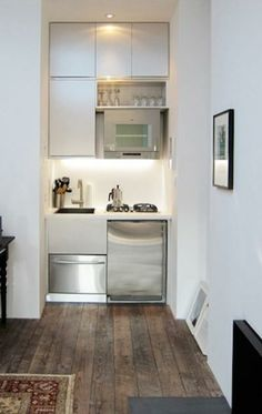 45 Good Smart Small Kitchen Design Ideas - Page 2 of 42 Mini Kitchen, Rustic Kitchen, New Kitchen, Kitchen Decor, Kitchen Ideas, Kitchen Small, 10x10 Kitchen, Compact Kitchen, Kitchen White