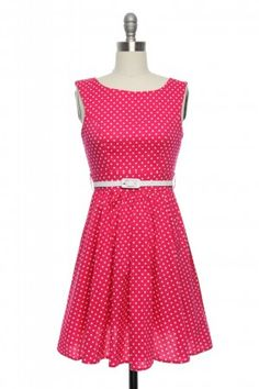 Pretty as a Picture Polka Dot Dress in Hot Pink | Vintage, Retro, Indie Style Dresses