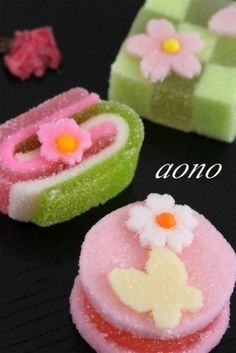 Wagashi- Japanese sweets, made with  minimal sugar to bring our the flavors of the natural ingredients. Just as delicious as they are beautiful.