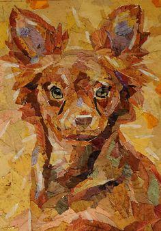 Картина выполнена из осенних листьев. Формат; А4