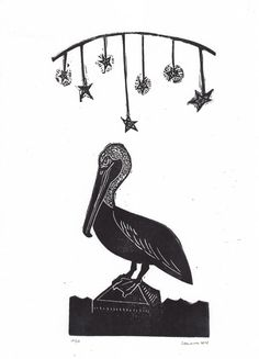 Starry Night Pelican exotic tropical hand pulled by craftyhag (Art & Collectibles, Prints, Wood & Linocut Prints, star, tbec, printsy, cute, vacation, california, night, romantic, shabby chic, natural history, travel, dream, bird)