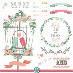"Wedding Clipart pack ""WEDDING FLORAL"" clip art Birdcages,Love Birds,Laurels,Floral Frames,Wreath,Wedding invitaion Instant Download Wd029."