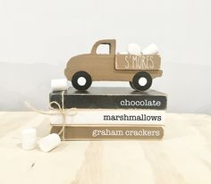Stack Of Books, Mini Books, Wooden Truck, S'mores Bar, Wooden Books, Chocolate Marshmallows, Tray Decor, Holiday Crafts, Twine