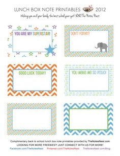 The Notes Nest Lunch Box Note Printables