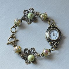 Olive Grove Venetian Glass & Chrysotine Beaded Watch £15.99