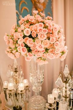 Pink Majolica Spray Roses in a gorgeous crystal vase |  Le Vie en Rose Cafe presented by Forget Me Not Flowers and Fairmont Royal York| Design by Frank Rea, Forget Me Not Flowers, Oakville | Decor by Forget Me Not Flowers, Oakville