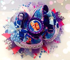 Boutique Stacked Frozen Inspired Over the Top OTT Hair Bow Olaf Elsa Anna on Etsy, $15.00