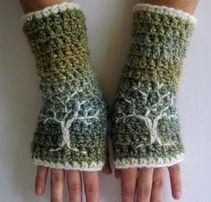 Arm Warmers fingerlose Handschuhe mit Lebensbaum grün von LoveFuzz