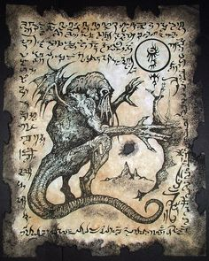 CTHULHU CULT RITUALS Necronomicon fragments occult dark by zarono www.etsy.com570 × 714Search by image GHOUL QUEEN Necronomicon Fragment