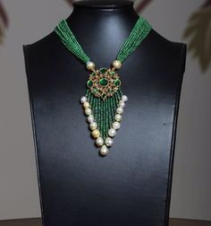 #pearl emerald #kundan#necklace