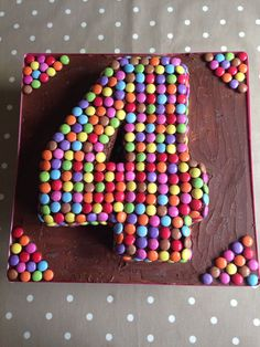 Birthday Cake Kids Boys, 4th Birthday Cakes, Birthday Bbq, Girl Birthday, Number 4 Cake, Candy Cakes, Girl Cakes, Cake Decorating, Birthdays