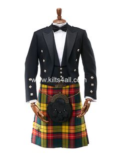 Kilts4all.com presents our Prince Charlie outfit with Modern Buchanan kilt. With over 300 tartan kilts in our showroom for immediate hire and over 2000 available for you we have an extensive and beautiful range we can offer you. Kilts4all.com