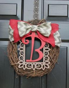Spring Wreath - Summer Wreaths for door - Burlap wreath - Monogram Wreath - Summer Wreath - Door Wreath - Wreath for Door - Country Cottage by angels95